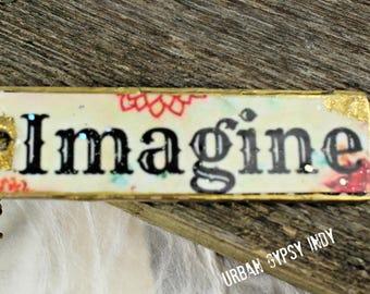 Imagine Word Necklace Tag Necklace Pendant Necklace Boho Style Pendant Yoga Jewelry