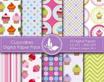 40% off Cupcakes Paper Pack - 10 printable Digital Scrapbooking papers - 12 x12 - 300 DPI