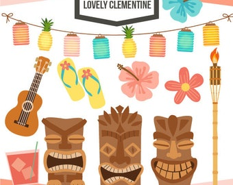 Tiki party clip art,  summer clipart, tiki vector, luau clip art- Instant Download