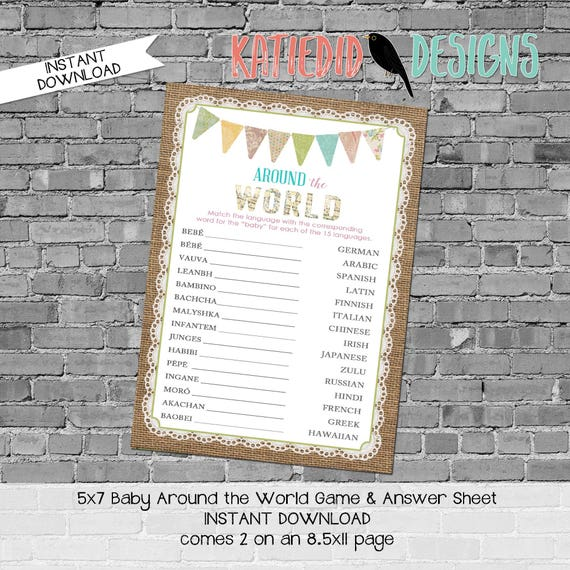 Around the world baby shower game INSTANT DOWNLOAD item 1431 1410 bunting banner burlap lace sprinkle match the language baby translation