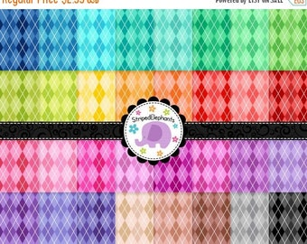 40% OFF SALE Argyle Digital Papers Bright, Preppy Digital Scrapbook Paper, Background Digital Paper, Instant Download, Commercial Use