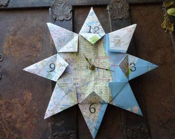Chicago, IL Origami Paper Map Clock: Housewarming, Travel, Destination, Wedding, Retirement, First Anniversary, Unique Gift, Eco Friendly