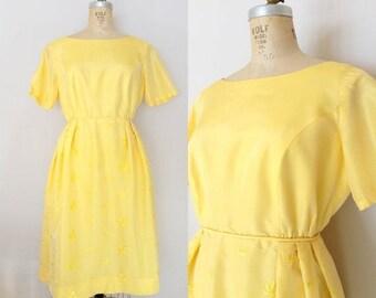 20% OFF SALE 1960s Silk Dress // CALIFORNIA Sunshine Dress // Vintage 60s Yellow Dress // Large