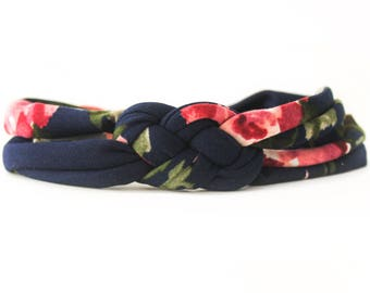 Navy Floral Baby Headband - Floral Holiday Headband - Newborn Floral Headband - Baby Headwrap - Coming Home Headband - Baby Headband