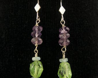 Green Peridot and Purple Amethyst Earrings with Light Blue Aquamarine Beads, Green and Purple Earrings, Dangle Beaded Earrings, Gift for Her