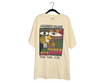 Vintage 1980's Greenwich Village New York City Wet Paint 1994 Art Illustration Yellow 100% Cotton Crewneck T-Shirt Made in USA, XL