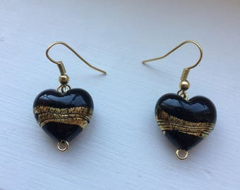 Black and Gold Swirled Heart Earrings / NOLA Saints Jewelry / Vanderbilt Fan Earrings / Gift For Her