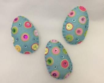 Felt Decorated Easter Egg Magnets - set of  3
