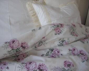 Shabby chic bedding Vintage Floral Duvet cover pastel cream purple roses oversized Queen-Super King 120x120 duvet cover Turkish Nurdanceyiz
