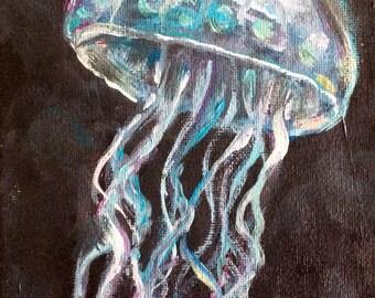 Jellyfish painting original art 5 x 7