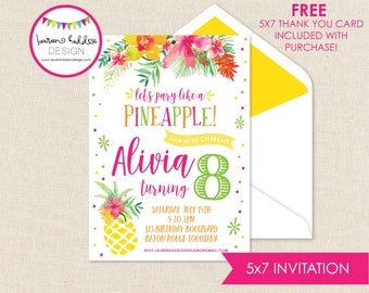 Pineapple Birthday Invitation, Party like a Pineapple, Pineapple Birthday, Pineapple Birthday Decorations, Lauren Haddox Designs