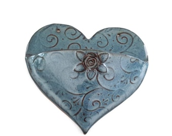 RESERVED - Medium Blue Heart Pocket with Rose