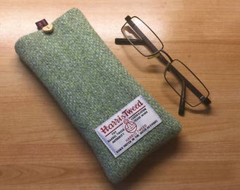 Glasses case, green herringbone Harris Tweed glasses case, tweed specs case, scottish gift, Mothers Day gift