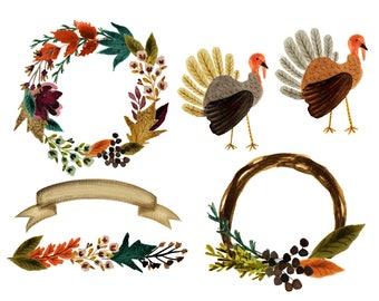 Fall clipart, thanksgiving clipart, fall watercolor clipart, pumpkin clipart, turkey clipart, fall florals, fall leaves, fall wreath clipart