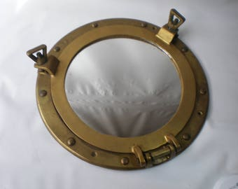 Vintage Unusual Brass Porthole Mirror