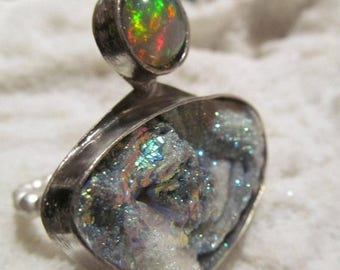 Summer SALE Titanium Druzy and Fiery opal Sterling Ring