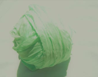 8 Yards FRESH MINT PREMIUM Sari Silk Hand Dyed Silk Ribbon