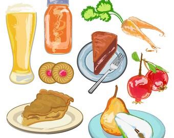 Food Clipart, Food Clip Art, Food Art, Pie Clipart, Cake Clipart, Beer Clipart, Cookie Clipart, Dessert Clipart, Digital Download