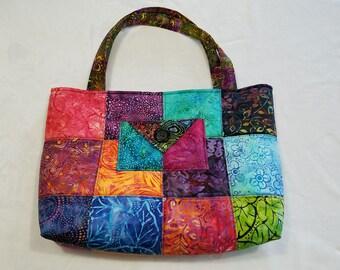 Charm Pack Purse or Small Tote-Bright Batik
