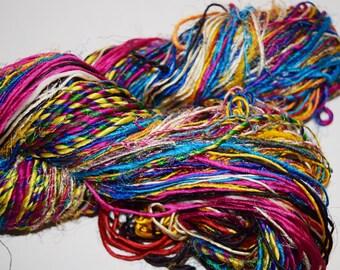 Himalaya Sari Recycled  Silk Yarn Jewelry Gift Wrap Fair Trade Gift Wrap Ribbon Fiber Color bright multi free shipping