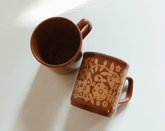 Vintage floral cups,  floral mugs, Vintage 70's mugs, Cute Vintage mugs, Vintage coffee cups, Tea cups, Set of 2, vintage coffee cups,boho