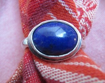 Dark Blue Lapis Lazuli in Sterling Ring Size 7