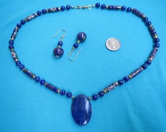 Lapis Lazuli, Chinese Cloisoonne, & 14K Gold Filled Necklace w Earrings