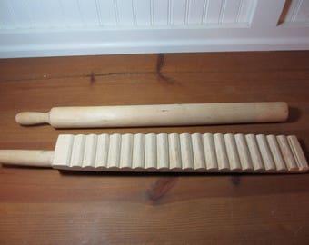 Wooden Mangle Board & Roller, Treenware, Primitive, Washboard, Rustic