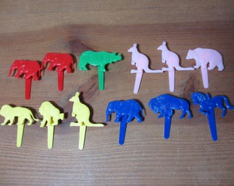 12 Vintage Plastic Animal Cake, Cupcake Toppers, Birthday, Party