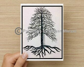 Rooted-  Vertical 5x5 Folded Blank Cards