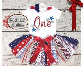 4th of July Outfit,4th of July shabby fabric tutu set, Patriotic red and blue birthday tutu outfit,  Sparkly Glitter one birthday set