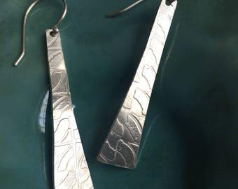 Long Sterling Roll Printed Modern Earrings