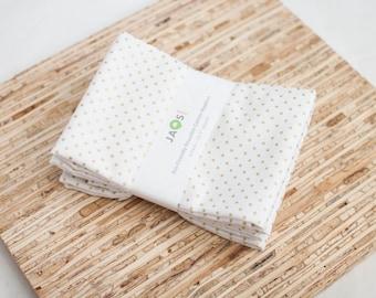 Large Cloth Napkins - Set of 4 - (N5575) - Metallic Gold Small Dots Modern Reusable Fabric Napkins
