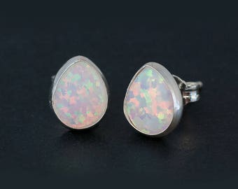 October Birthstone Opal Earrings, White Opal Sterling Silver Studs, Minimalist Earrings, Bridesmaid Gift, Birthday Jewelry, Post Earrings