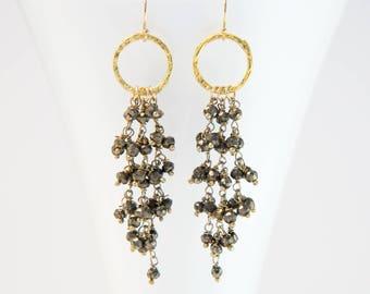 Pyrite Tassel Drop Earrings, Metallic Stone Earrings, Statement Earrings, Beaded Gemstone Earrings, Hammered Hoop, Gift for Her, Cascade