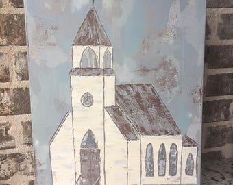 Custom 16x20 church painting, old church, farmhouse style, rustic chic,