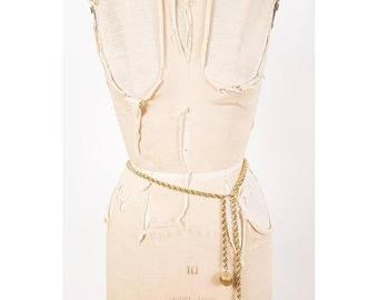 FLASH SALE... Vintage gold chain belt / 1960s gold tone rope chain adjustable waist belt with filigree balls