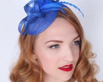 Royal Blue Mini Fascinator - Arianna Mini Royal Blue Mesh Fascinator