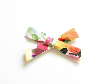 Kids Hand Tied Bow - Baby Bow Headband - Water Color Flowers