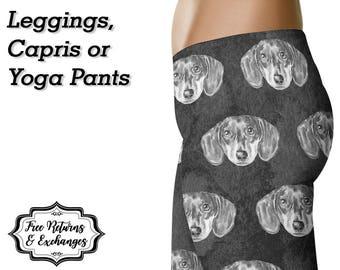 Dachshund Leggings / Sausage Dog Yoga Leggings / Wiener Dog Pants / Printed Leggings / Womens Clothing / Doxie Mom / Workout Leggings