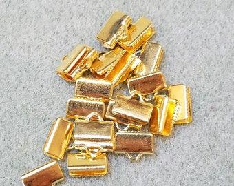 10mm crimp, Gold Metal Crimp, Ribbon Crimp End, Necklace crimp, cord end clasp, ribbon clamp, leather crimp end, necklace crimp