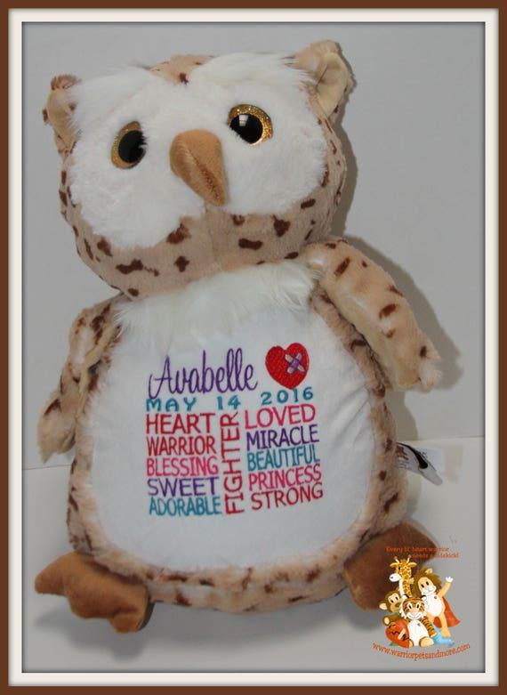 CHD personalized Owl Warrior Pet, stuffed animal