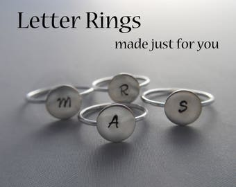 Sterling Silver ABC Letter Initial Stamped Disk Ring
