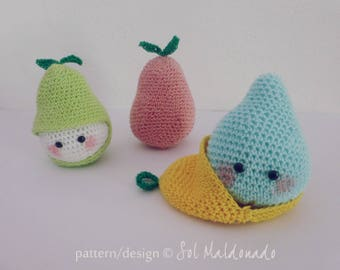 amigurumi crochet PDF - Pear crochet tiny beginner tutorial - playful food, fruit toy, children gift - Instant DOWNLOAD