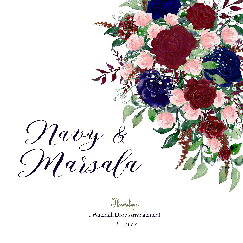 Navy and Marsala watercolor clipart,marsala and blush,navy ...