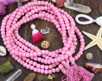 Bubblegum Pink Bone Mala Beads, 108 pc, Exclusive Color, Boho Yoga Jewelry Making Supply, Large Hole Rondelle Beads for Bracelets, Yoga Mala