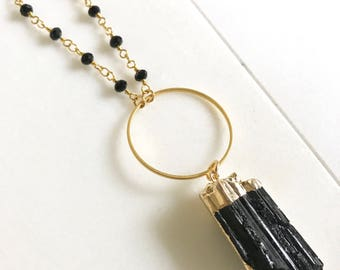 Long Tourmaline Necklace. Raw Crystal Necklace.