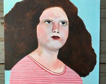 Original art // portrait painting // Bubblehead no. 106 // original painting // illustration on paper // 14 x 17