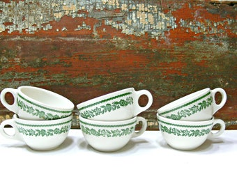 Buffalo China Diner Coffee Cups Kenmore Pattern White with Green Floral - Set of 6 - Mid Century Restaurant Ware Vintage Kitchen