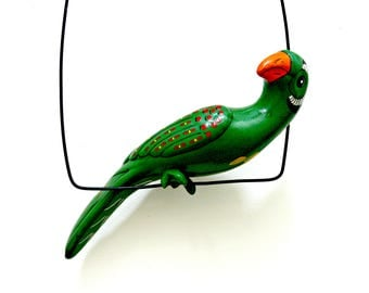 Ceramic Hanging Parrot with Perch - Vintage Hand Painted Mexican Pottery Bird Wall Garden Patio Porch Decor